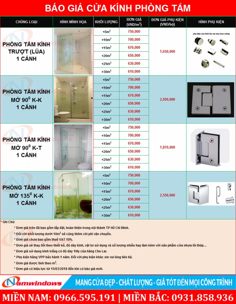 Giá cửa kính phòng tắm