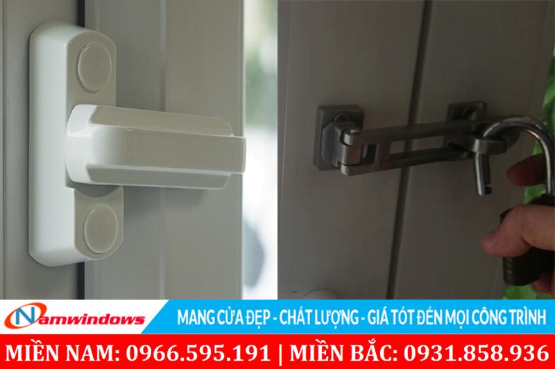 Tăng cường chốt an toàn và khoa phụ cho cửa nhựa lõi thép