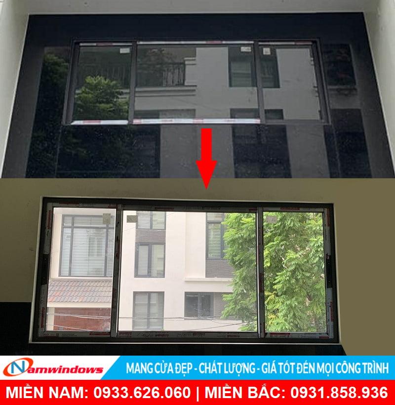 Cửa sổ lùa 3 cánh nhôm xingfa