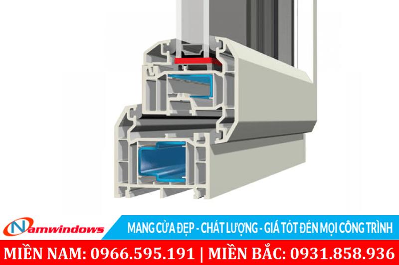 Hình ảnh 3D cấu tạo thanh nhựa Kommerling hệ 70