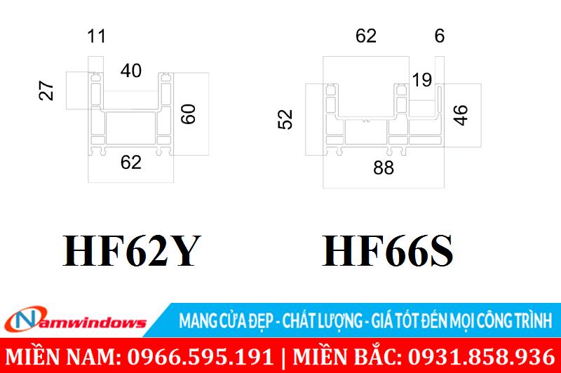 Khung bao cửa sổ lùa HF62Y và HF88S