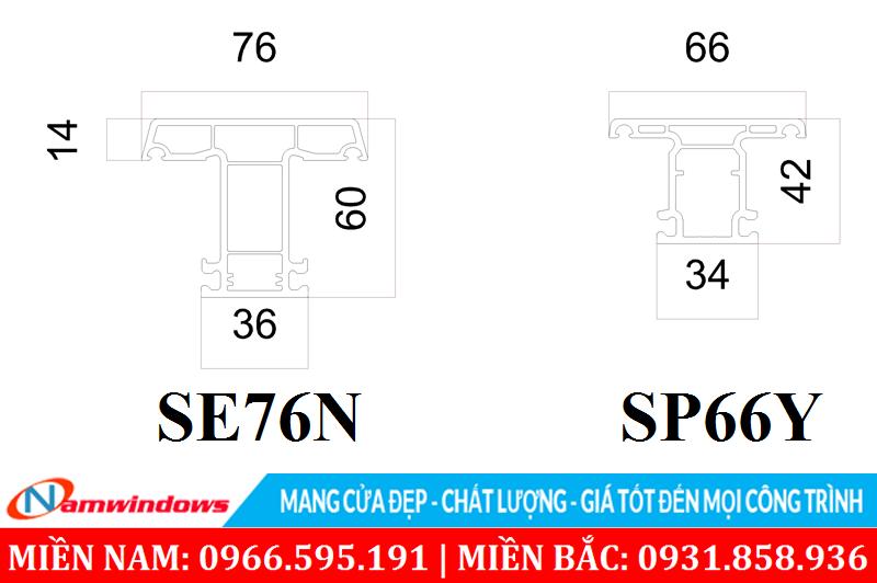 Đố chia ô cửa mở ra vào SE76N và hệ cửa trượt SP66Y