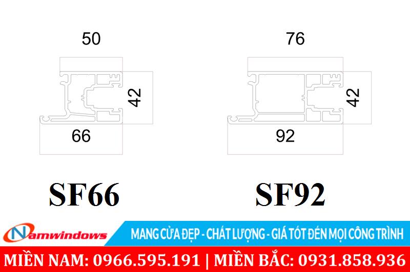 Cánh cửa sổ lùa SF66 và cửa đi SF92
