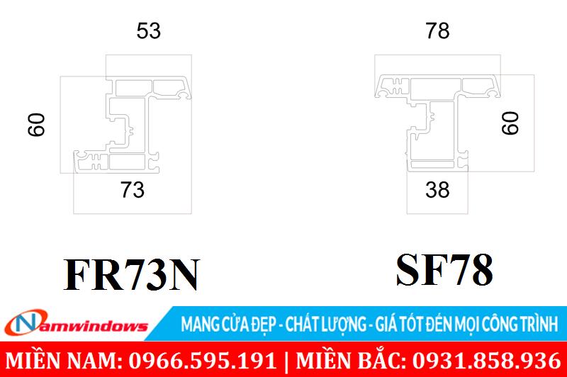 Cánh cửa sổ mở vào trong FR73N và mở ra ngoài SF78C