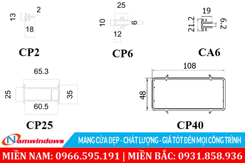 Mặt cắt các thanh ghép nối liên kết các khung cửa thanh một khung