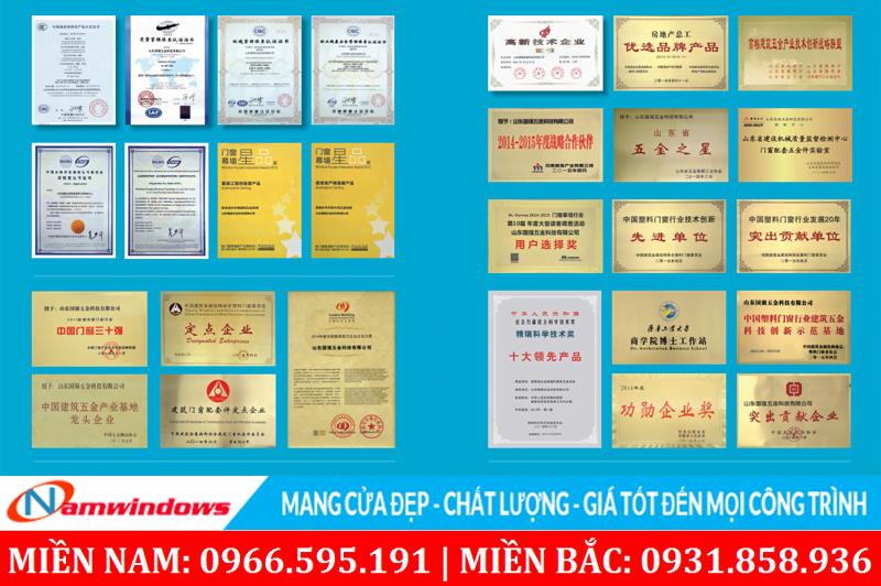 Một số chứng nhận chất lượng và các giải thưởng phụ kiện Guoqiang