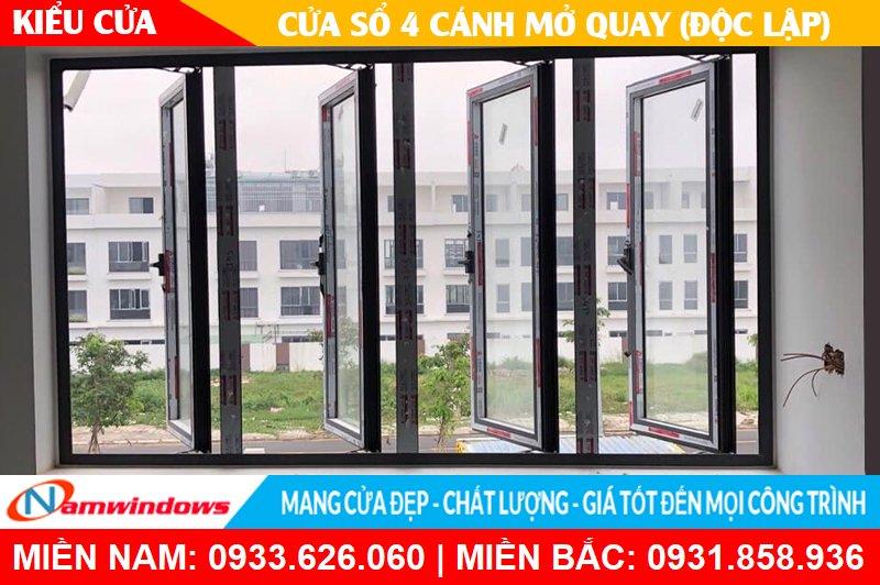 Kiểu cửa sổ 4 cánh mở quay (Độc lập)