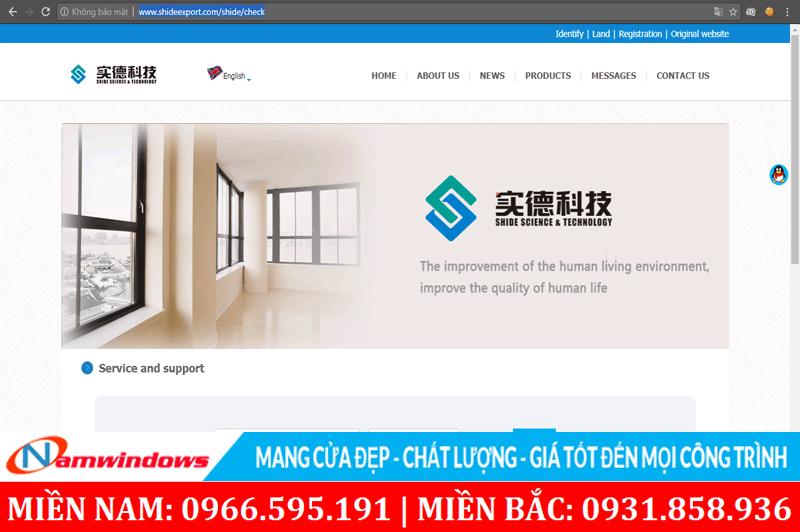 Giao diện trang chủ của tập đoàn Shide Group sản xuất ra thanh nhựa Sparlee