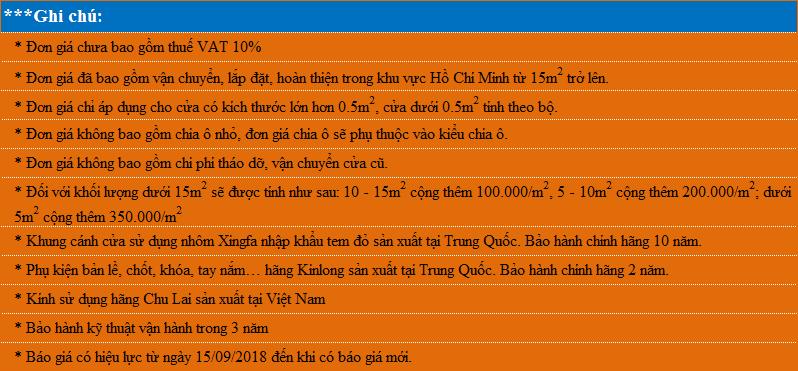Ghi chú báo giá cửa nhôm Xingfa nhập khẩu tem đỏ