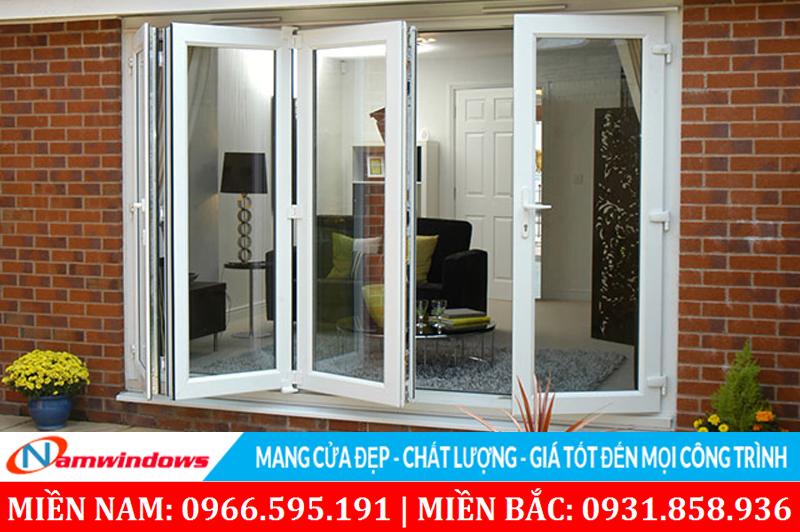 Mẫu cửa 4 cánh xếp trượt dành cho những cửa có kích thước ngang lớn cần mở hết