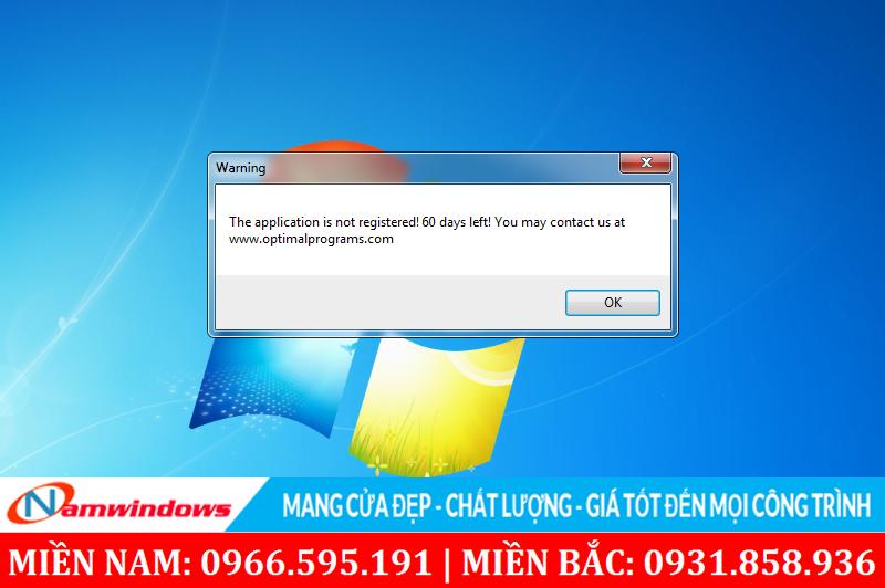 Thông báo sử dụng phần mềm được dùng thử 60 ngày