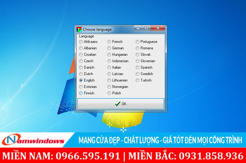 Chọn ngôn ngữ hiển thị trên phần mềm