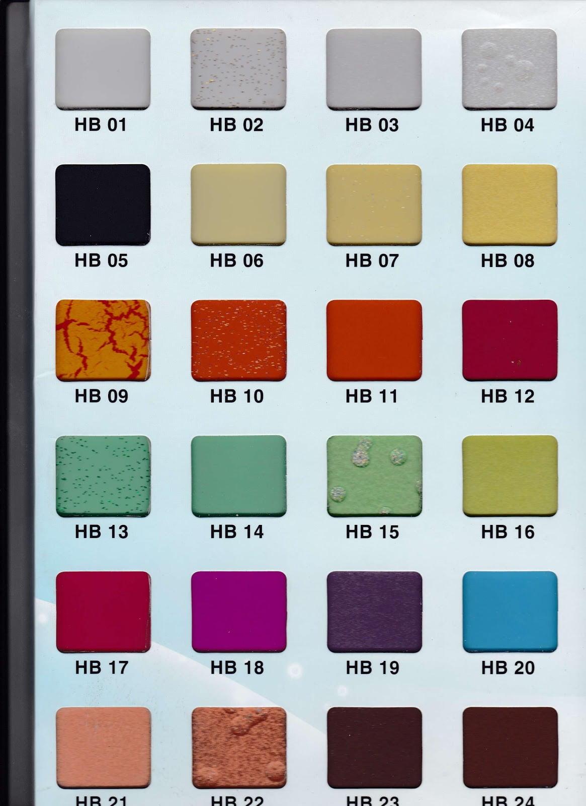 Bảng mã màu kính sơn
