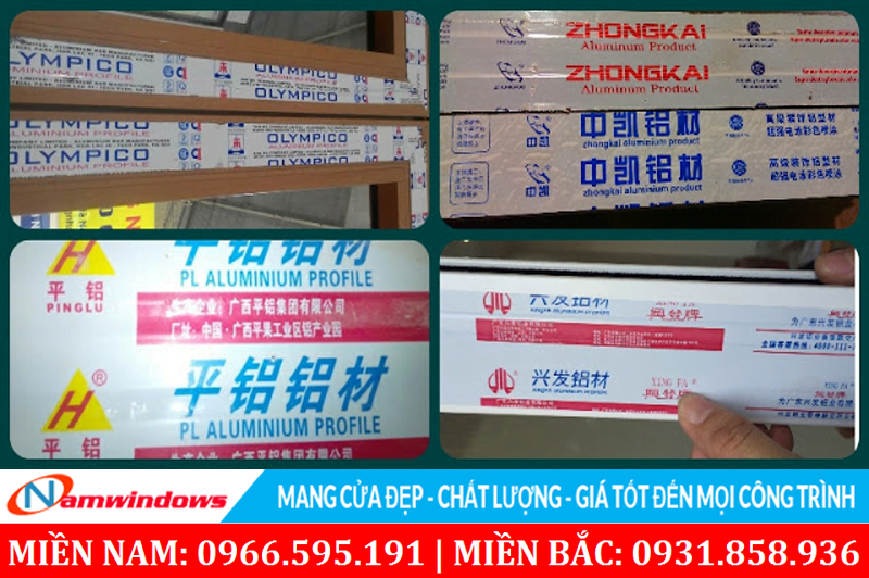 Tem nhãn của một số loại Xingfa