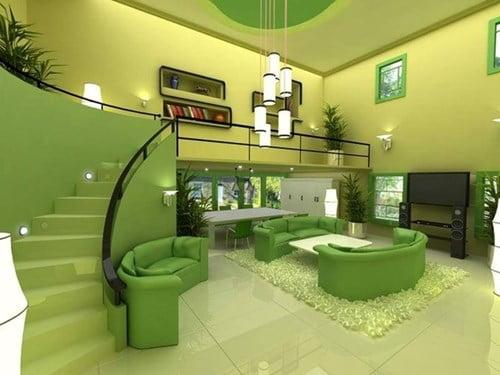 Kính màu ốp tường cho phòng khách đẹp, hiện đại