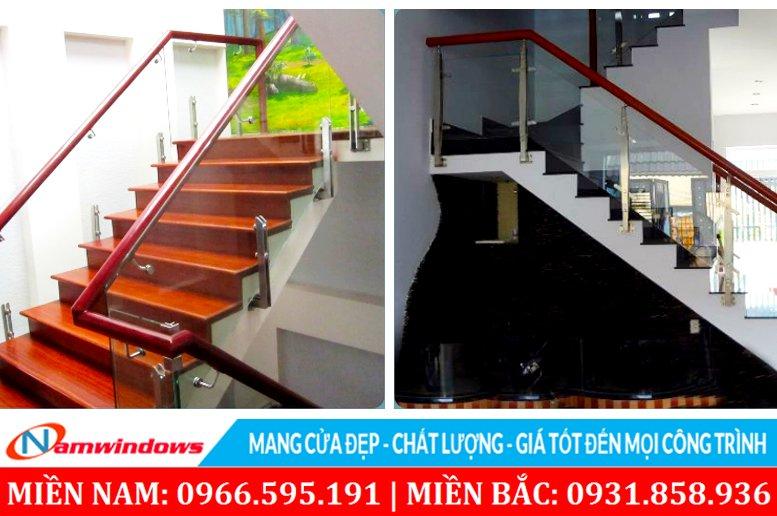 Mẫu trụ inox không ốp gỗ, trụ lửng và trụ cao ốp bên hông cầu thang
