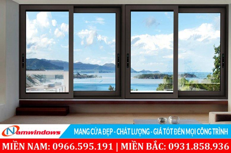 Mẫu cửa sổ lùa nhôm kính 2 cánh, 4 cánh