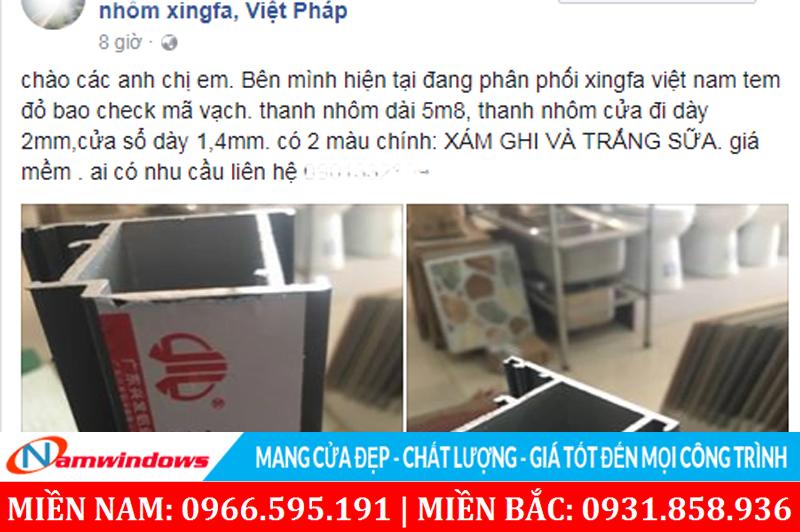 Cửa Xingfa quá rẻ sẽ rất khó tránh khỏi việc dùng nhôm Xingfa không rõ nguồn gốc