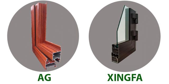 Hình ảnh một góc cửa của nhôm Xingfa và nhôm AG