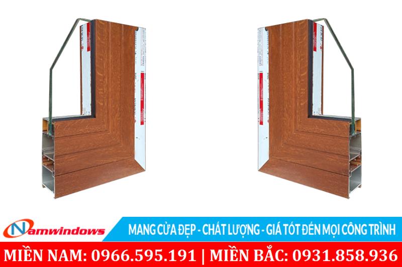 Hình ảnh màu giả gỗ của cửa nhôm Xingfa vân gỗ nhập khẩu