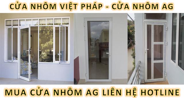 Hình ảnh của một mẫu cửa 1 cánh nhôm AG và nhôm Việt Pháp