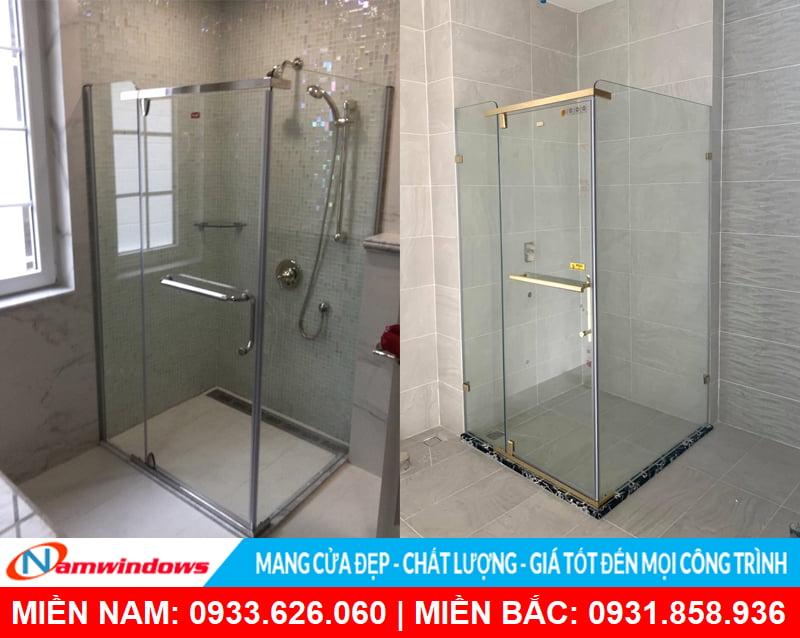 Phòng tắm kính 90 độ hình vuông đẹp