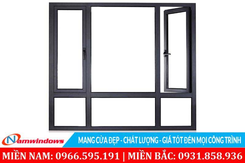 Kết hợp vách kính và cửa sổ nhôm kính mở quay trên một ô cửa