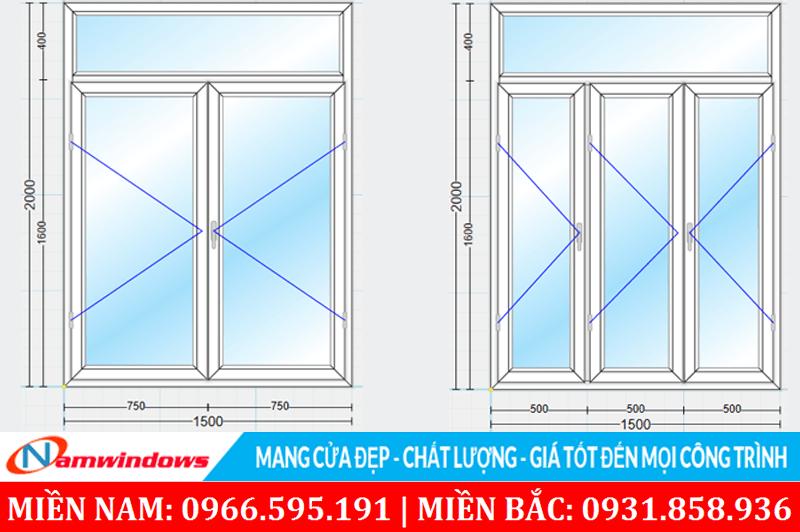 Chọn kích thước chuẩn cho cửa sổ 2 cánh và 4 cánh