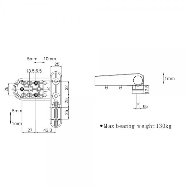 Thông số kỹ thuật bản lề 3D 120kg