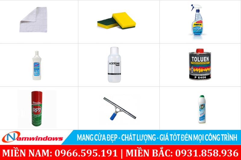 Dụng cụ và các dung dịch vệ sinh cửa nhựa uPVC