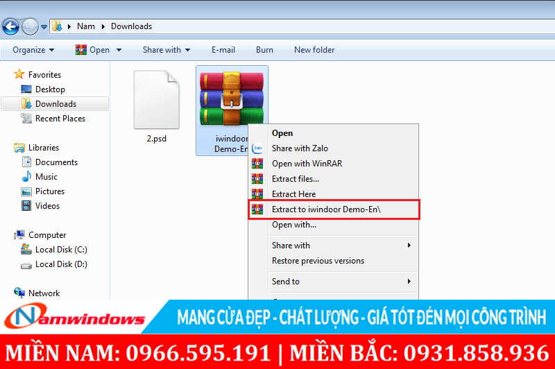 Bung nén file nén phần mềm thiết kế cửa nhôm, cửa nhựa