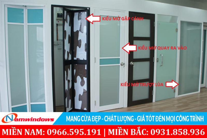 Những kiểu mở ứng dụng cho cửa nhôm kính nhà vệ sinh