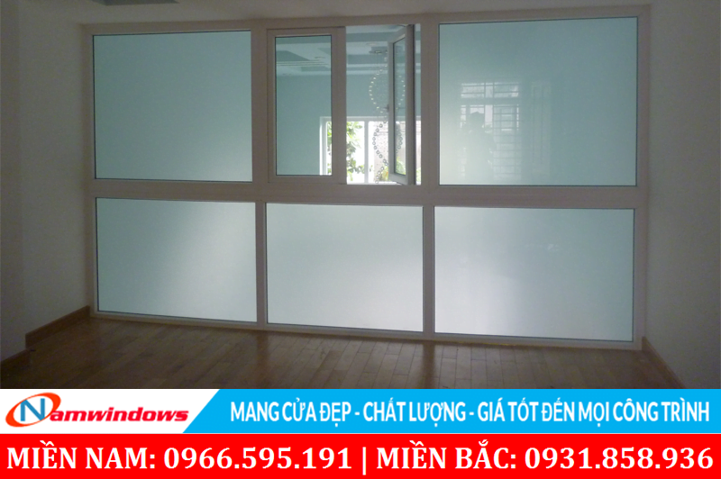 Mẫu 24: Mẫu vách kính và cửa sổ ngăn tầng lửng