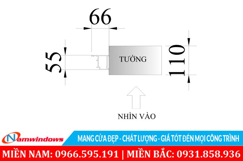 Kích thước một bên khung bao của cửa Xingfa 4 cánh