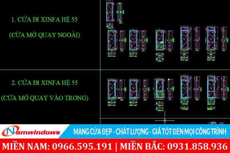 Bản vẽ kỹ thuật cửa nhôm Xingfa