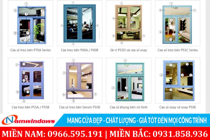 Một số hệ nhôm Xingfa của công ty Xingfa Guangdong