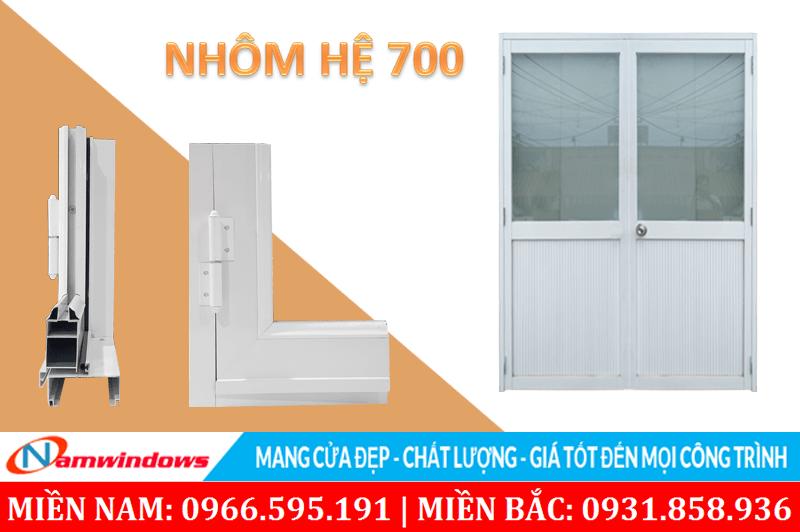 Hình ảnh mẫu cửa nhôm kính 2 cánh hệ 700