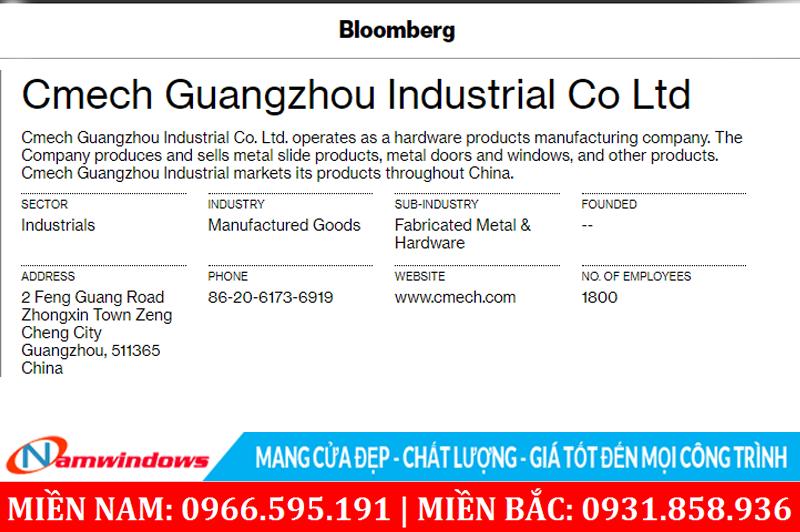 Thông tin phụ kiện cửa nhôm Xingfa hãng Cmech từ tổ chức tài chính Bloomberg