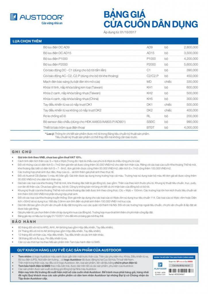 Bảng giá cửa cuốn dân dụng Austdoor