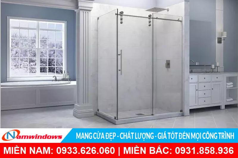 Mẫu cửa kính phòng tắm mở lùa dạng cabin