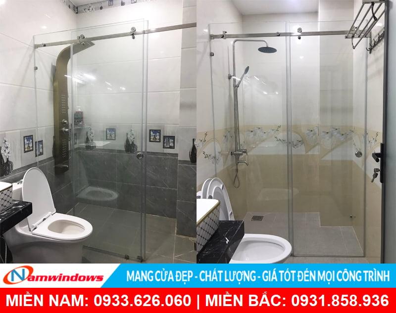 Phòng tắm cửa lùa kính cường lực