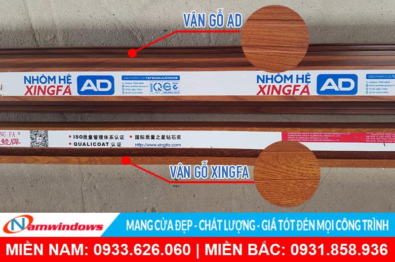 Màu vẫn gỗ Xingfa AD và Xingfa nhập