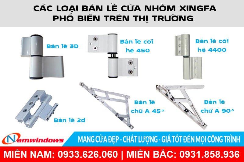 Các loại bản lề cửa nhôm xingfa phổ biến trên thị trường
