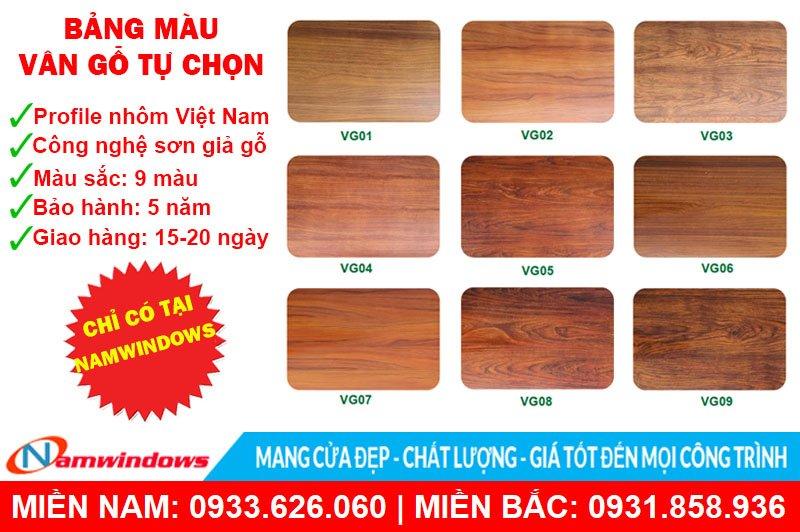 9 màu vân gỗ tùy chọn của Namwindows
