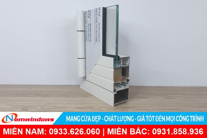 Góc mẫu cửa nhôm xingfa màu trắng sứ