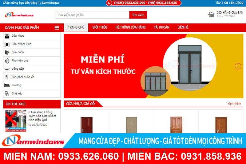 Giao diện website đặt mua online tại nhà cung cấp phụ kiện nhôm kính Namwindows