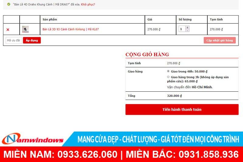 Hướng dẫn đặt hàng online tại Namwindows