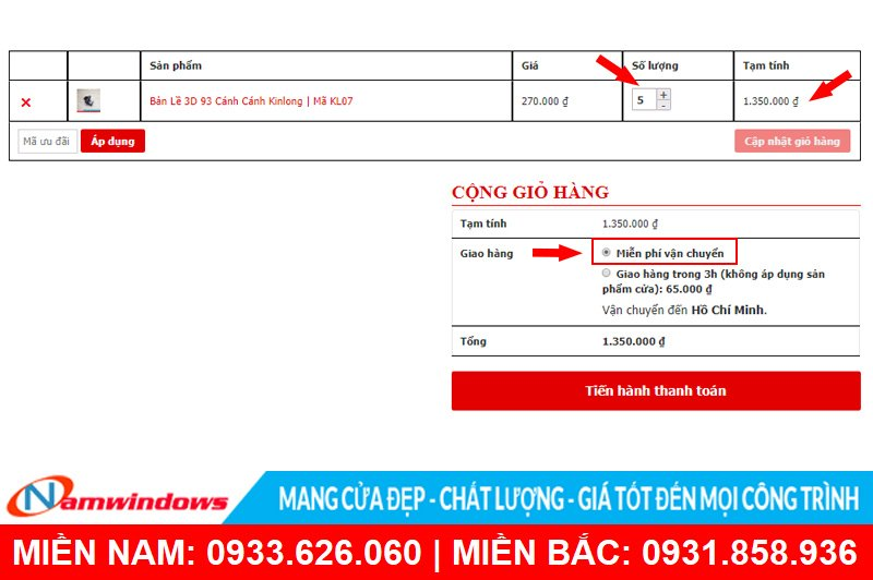 Hướng dẫn đặt mua phụ kiện cửa nhôm online