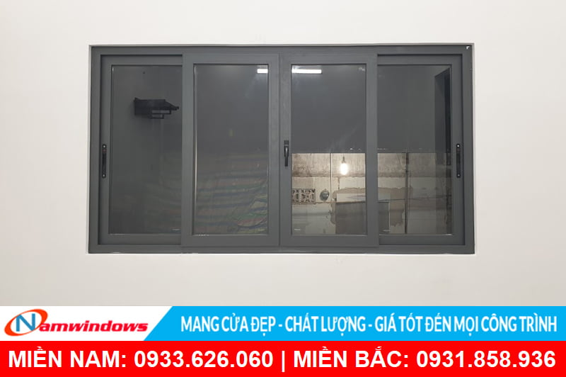 Mẫu cửa sổ lùa 4 cánh nhôm xingfa xám ghi