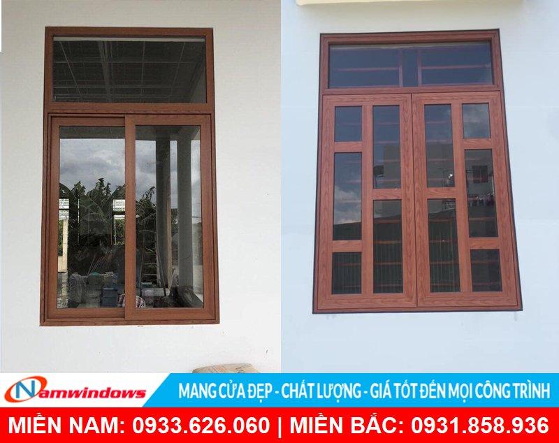 Mẫu cửa sổ 2 cánh nhôm xingfa vân gỗ